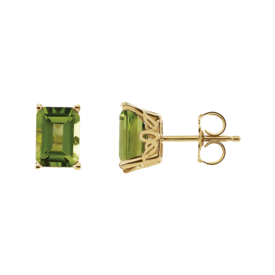 Gemstone Earrings Emerald Cut Peridot Earrings