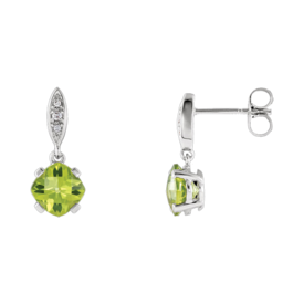 Gemstone Earrings Diamond Peridot Earrings