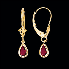 Gemstone Earrings Leverback Pear Shape Ruby Earrings