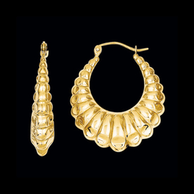 Polished Scalloped Gold Hoops
