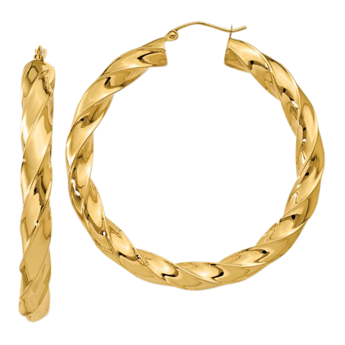 14K Gold 5mm Twisted Hoops