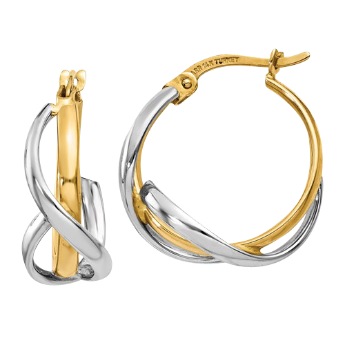 14k Gold Satin and Diamond Cut Hoops