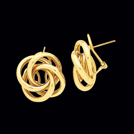 Large Love Knot Gold Earrings