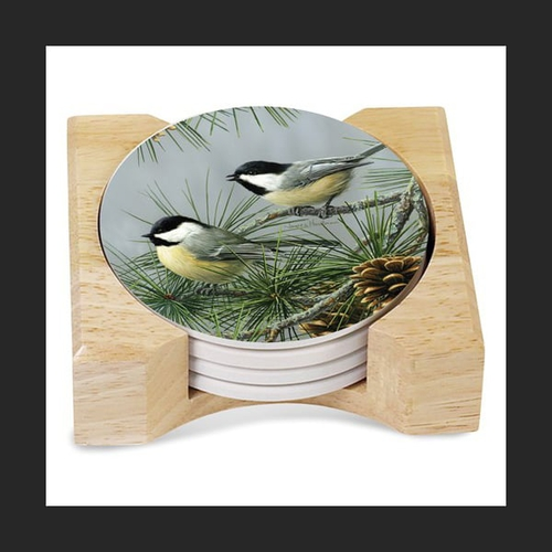 Chickadees Coasters with Holder