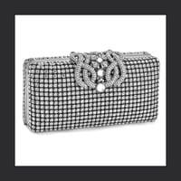 Silver Crystal Deco Evening Bag