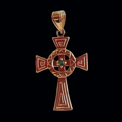 Celtic Inspired Emerald Center Cross