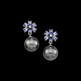 Breathtaking Tanzanite Pearl Earrings
