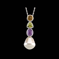 South Sea Pearl Multi Gem Pendant
