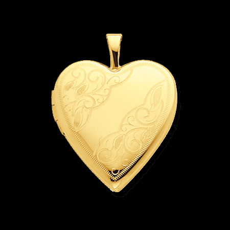 Gold Swirl Design Heart Locket