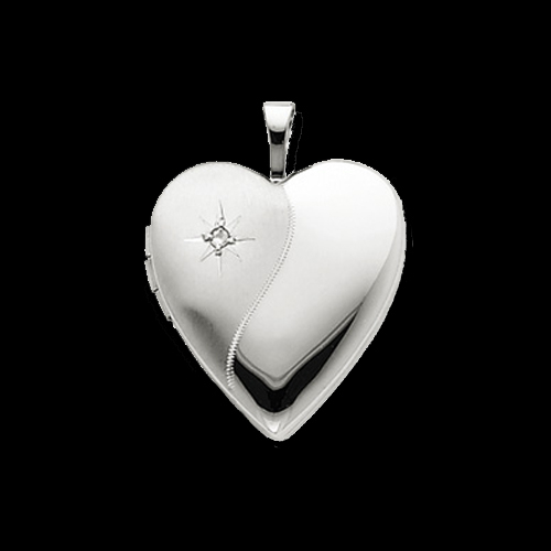 Satin & Polish Diamond Heart Locket