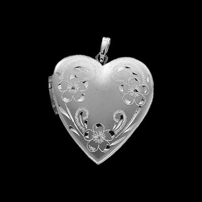 Floral 4 Photo Gold Heart Locket