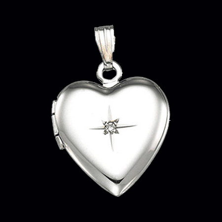 Diamond Silver Heart Locket