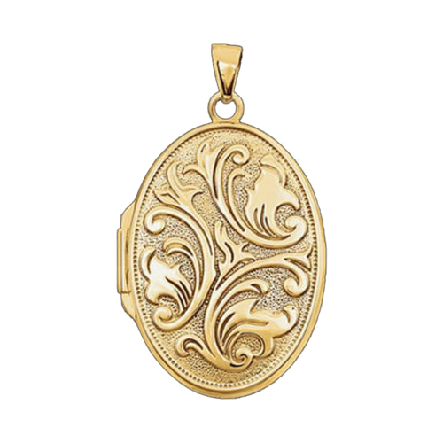 Gold Embossed Oval Locket