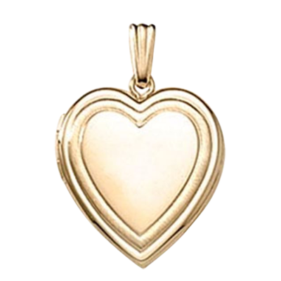 Ribbed Heart Gold Locket