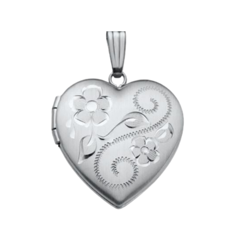 14k White Gold Floral Engraved Locket