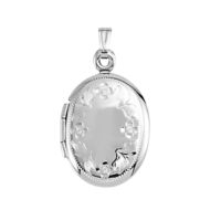 White Gold Lockets 14k White Gold Oval Floral Locket