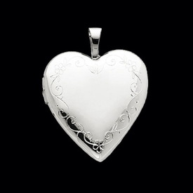 White Gold Flower Heart Locket