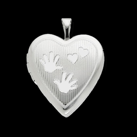 Silver Handprints Heart Locket