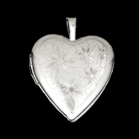 Silver Daisies Heart Locket