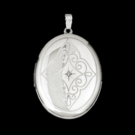 Silver Diamond Swirl Locket