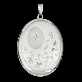 Silver Oval Floral Locket