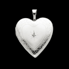 Diamond Heart Swirl Design Locket