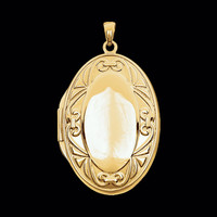 14k Gold Oval Fancy Locket