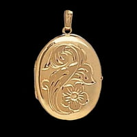 Large Lockets Floral 4 photo Gold Locket