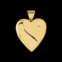 Satin and Polished Heart Locket