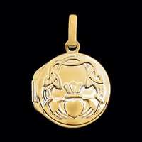 14k Yellow Gold Claddagh Locket