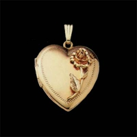 Gold Heart Rose Locket