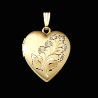 Floral Spray Heart Locket