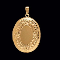 Floral Border Gold Locket