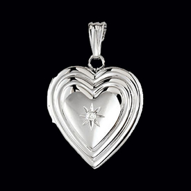 Silver Diamond Heart Locket
