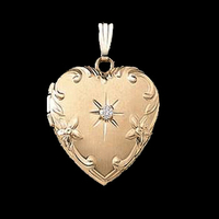 Floral Diamond Gold Heart Locket