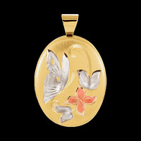 Butterfly & Flowers Gold Locket