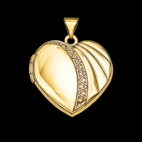 Ribbed and Polish Heart Locket
