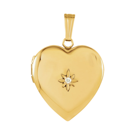 Heart Lockets 14k Gold Diamond Heart Locket
