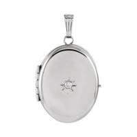 White Gold Heavy Oval Locket