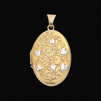 Oval Flower Heart Locket