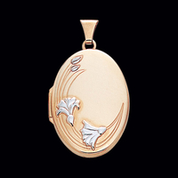 White Flowers Gold Locket