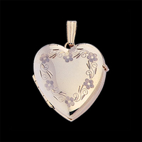 Floral Border Heart Family Locket