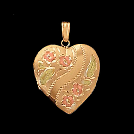 Floral Heart Gold Locket