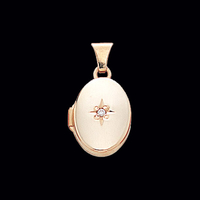 Small Diamond Accent Gold Locket