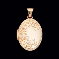 Gold Embossed Floral Spray Locket