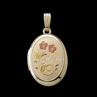 "Oval Gold ""Mom"" Locket"