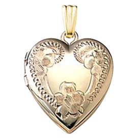 Etched Floral Design Heart Locket