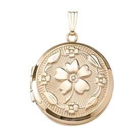 Gold Lockets Gold Round Floral Locket