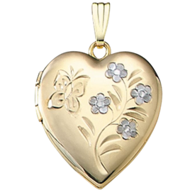 Butterfly Floral Gold Locket