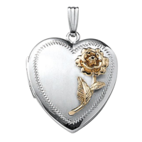 Large Lockets White Gold Rose Locket